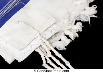 Tallit, Jewish prayer shawl for religious observance - White...