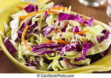 Homemade Coleslaw with Shredded Cabbage and Lettuce -...
