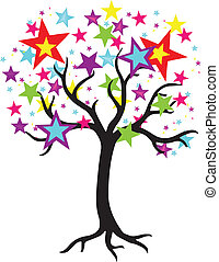 Star Tree Vector Graphic