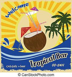 Retro poster  for tropical bar