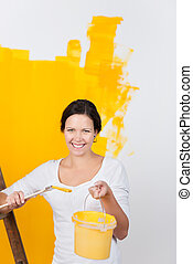 Woman renovating her house