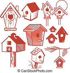 Birdhouse Collection - Clip art set of different type of...