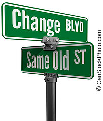 Decision Choose Change or Same Old Street - Street signs...