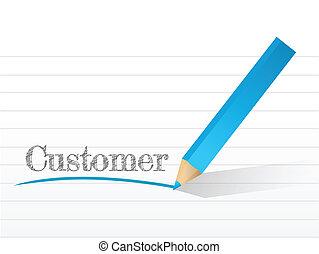 customer written on a notepad illustration
