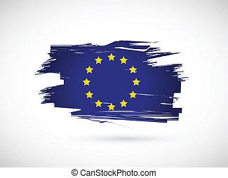 european ink flag illustration design