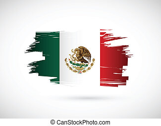 Mexico. Mexican ink flag illustration