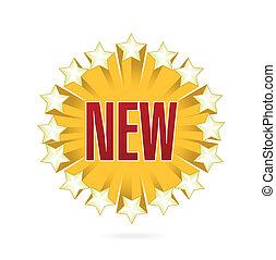 golden sign of word new illustration design over white