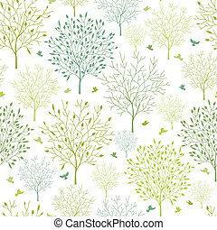 Spring trees seamless pattern background - Vector spring...