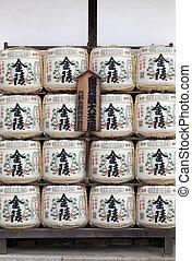 Barrels of japanese sake - Japanese sake barrels at...