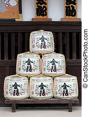 Japanese sake barrels - Kotohira, Japan - July 7 2013: Sake...