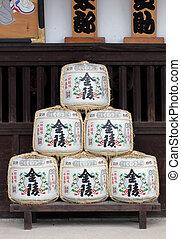 Japanese sake barrels - Kotohira, Japan - July 7 2013: Sake...