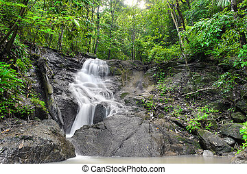 Waterfall in tropical rain forest jungle. Thailand beautiful...