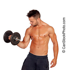 Muscled guy lifting weights isolated on white background
