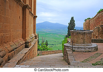 streetview in pienza, italy - streetview and panorama with...