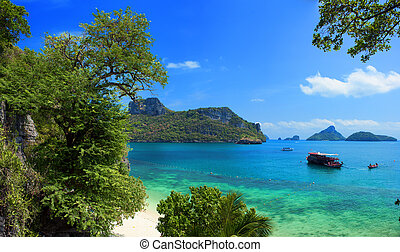 Exotic beautiful landscape of Thailand sea. Angthong marine park near koh Samui island. Tropical beach and archipelago view