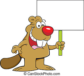 Cartoon beaver holding a sign - Cartoon illustration of a...