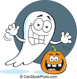 Cartoon ghost with a pumpkin - Cartoon illustration of a...