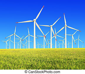 Rice farms Modern wind turbines - Environmentally friendly...