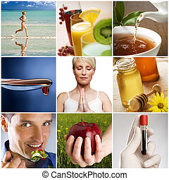 collage - beautiful healthy lifestyle theme collage made...
