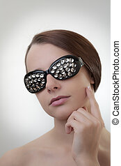 eye wear - sexy woman wearing glasses made up from drawing...