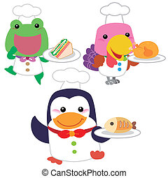 cute cartoon animal cook collection with white background.