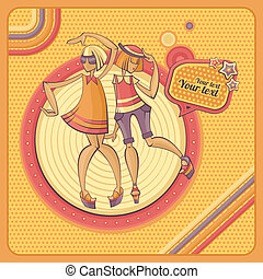 card with dancing girls in retro style