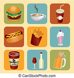 food and drinks icons over cream background vector...