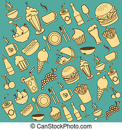 restaurant icons over blue background vector illustration