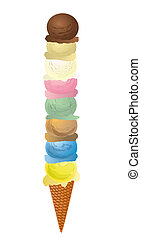 8 scoops of ice cream - Illustration of multiple scoops of...