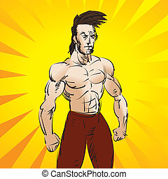 Workout fighter - Vector illustration of a mixed martial...