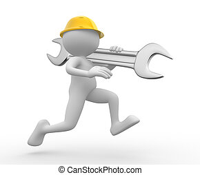 Worker - 3d people - man, person with a wrench. Engineer .