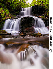 Tuscarora Falls and small cascades on Kitchen Creek in...