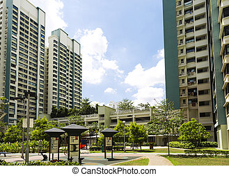 New Estate - A new apartment neighborhood with carpark and...