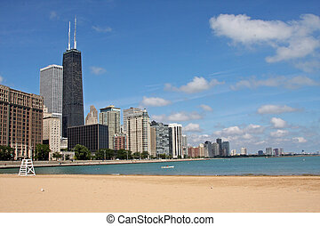 Ohio Street Beach in Chicago - Ohio Street beach in downtown...