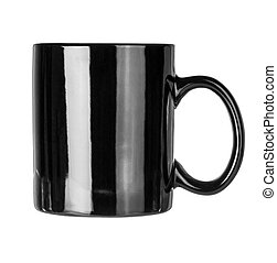 Black mug empty blank for coffee or tea isolated on white...