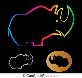 Vector image of an rhino on black background