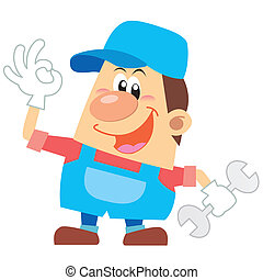 cartoon plumber with white background.