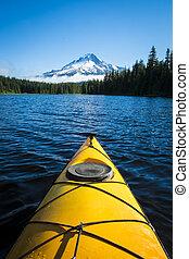 Kayak in mountain lake, Mt. Hood, Oregon - Kayak in Trillium...