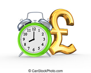 Green watch and symbol of pound sterling.Isolated on...