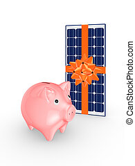Pink piggy bank and solar battery.Isolated on white.3d...