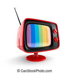 Red vintage TV - Electronics and technologies metaphor....