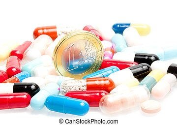 euro coins in the center of medical pills
