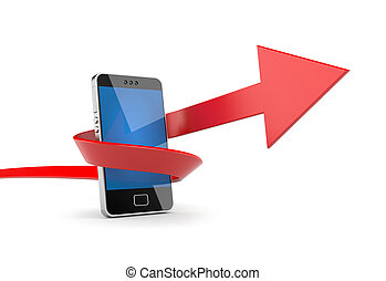 Mobile phone with arrow