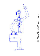 Enthusiastic businessman Pen draw illustration