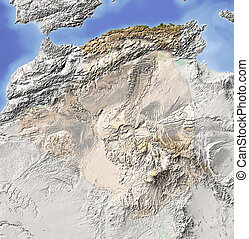 Algeria, shaded relief map
