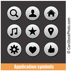 application pictogram symbols set silver color isolated