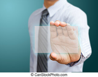 Human hand holding business card