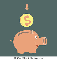 moneybox for money - pig moneybox for money. accumulation of...