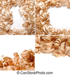 Sawdust over the white background collage