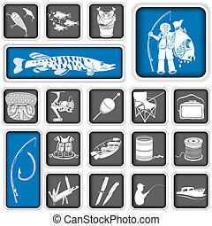 fishing squared icons - Collection of different fishing...